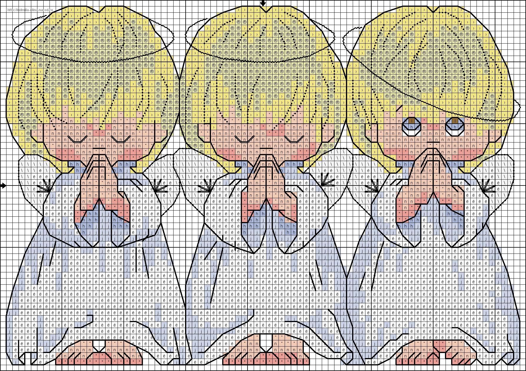 Схемы трех ангелов для вышивки крестом