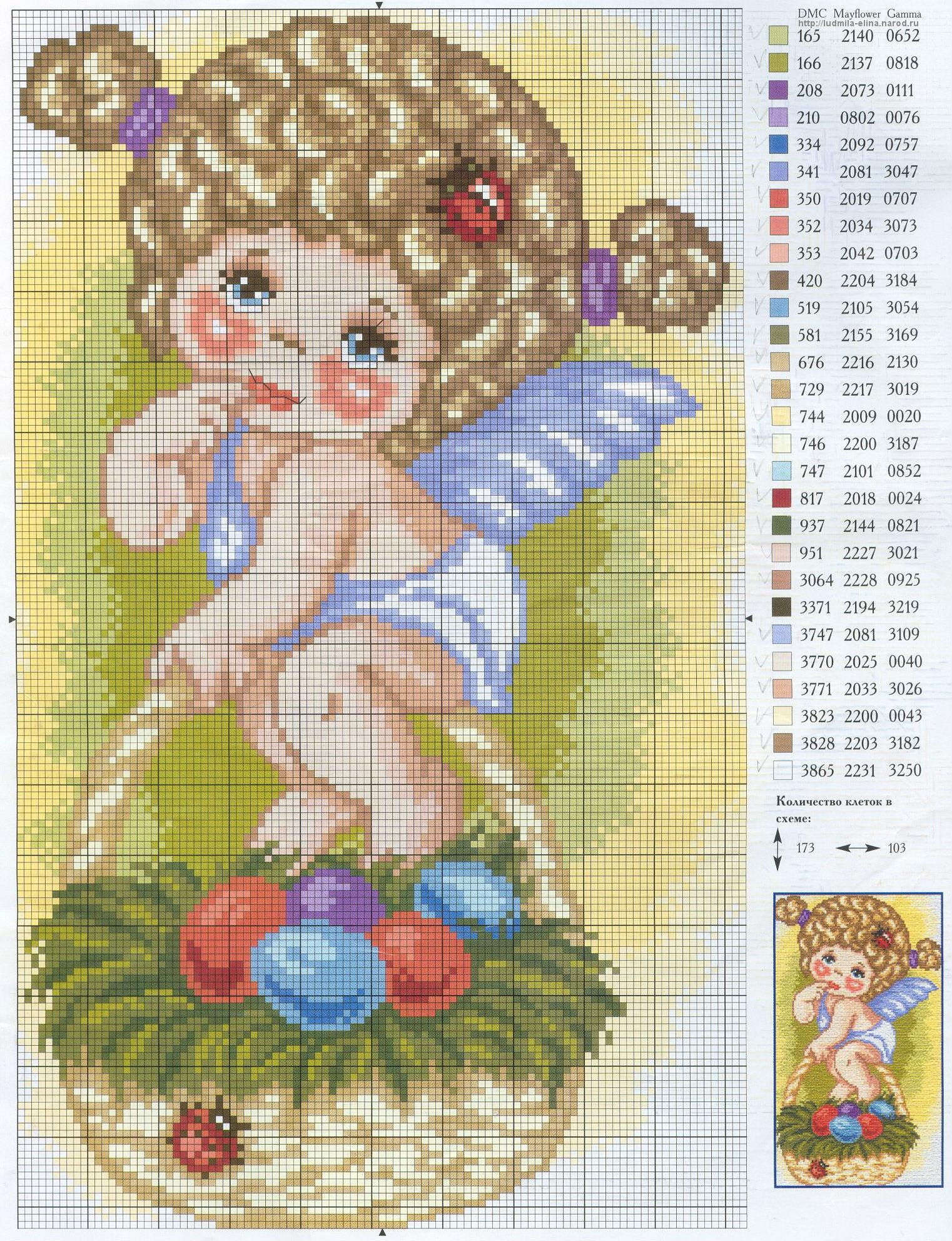 3 ангелочка схема вышивки фото 869